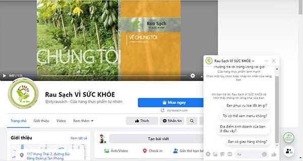 giải pháp Marketing Online cho kinh doanh rau sạch - Fanpage cửa hàng rau sạch