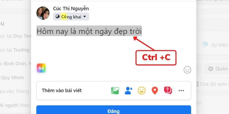 Cách coppy trạng thái trêm Facebook
