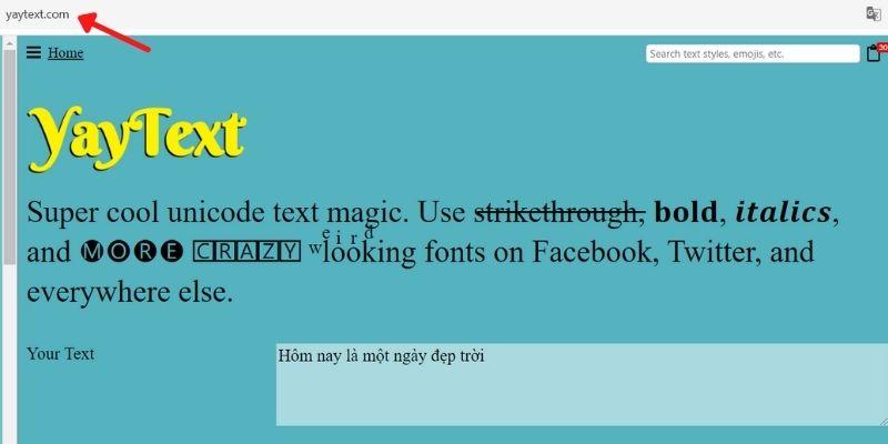 In đậm chữ trên Facebook với công cụ Yaytext.com